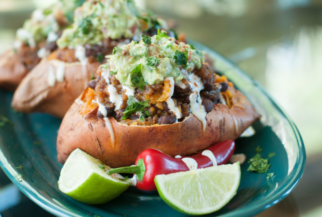 DELICIOUS AND NUTRITIOUS: Chef Ahki's chili-stuffed sweet potatoes with guacamole.